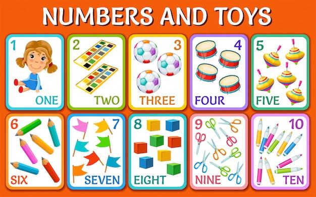 Brinquedos dos desenhos animados. cartões com números.