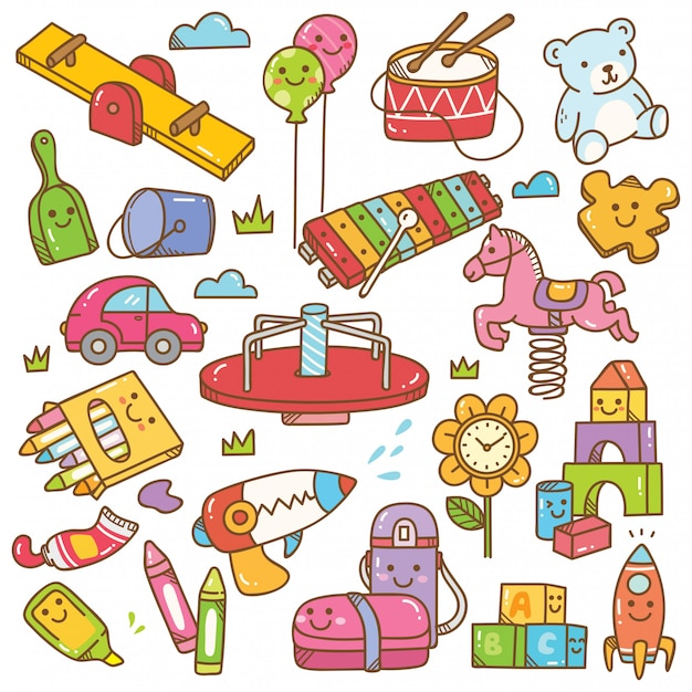 Brinquedos e equipamentos de jardim de infância doodle conjunto