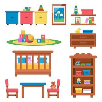 Brinquedos e móveis para crianças pré-escolares