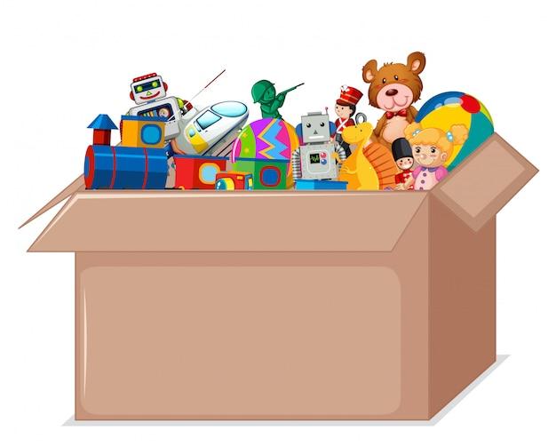 Brinquedos em caixa de papelão