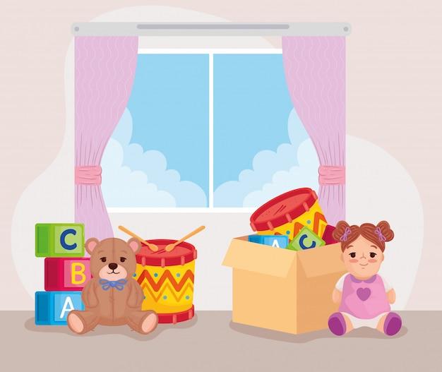 Brinquedos fofos para crianças na caixa de papelão