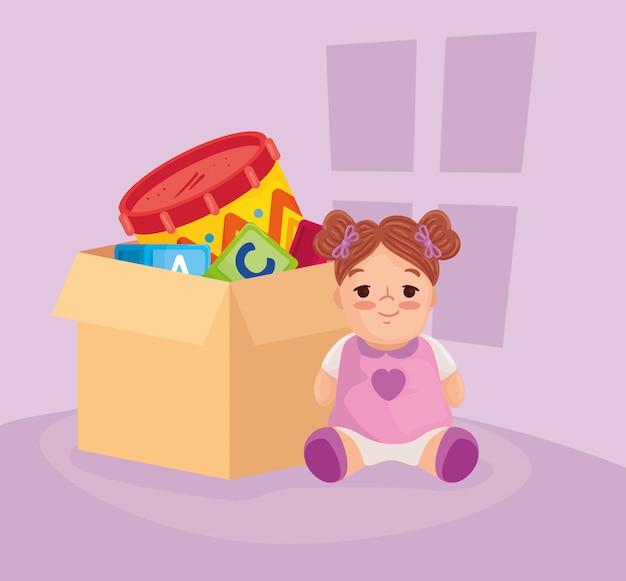 Brinquedos infantis, boneca fofa e brinquedos em caixa de papelão
