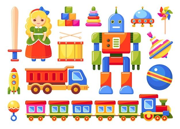 Brinquedos infantis com trem, robô, caminhão, foguete, boneca, bola, tambor, cata-vento, blocos de brinquedo, chocalho, redemoinho, ovni, pirâmide e espada