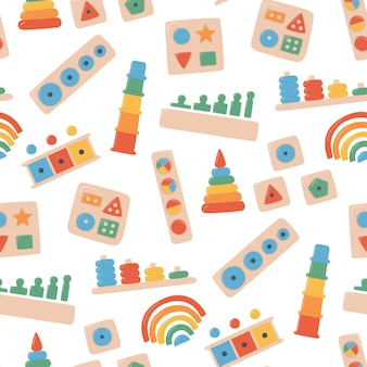 Brinquedos infantis de madeira para jogos montessori. brinquedos de lógica de educação para crianças pré-escolares. sistema montessori para o desenvolvimento da primeira infância. classificadores multicoloridos. padrão uniforme em fundo branco