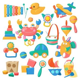 Brinquedos infantis desenhos animados jogos para crianças na sala de jogos e brincar com o carro do pato ou conjunto de blocos coloridos, isolado no fundo branco
