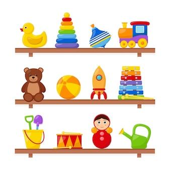 Brinquedos infantis em prateleiras de madeira, ilustração vetorial