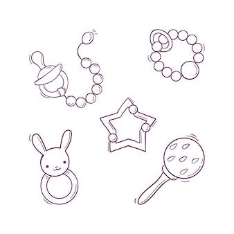 Brinquedos infantis em preto e branco desenhados à mão, chocalhos, chupeta