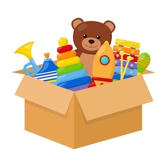 Brinquedos infantis em uma caixa, ilustração vetorial