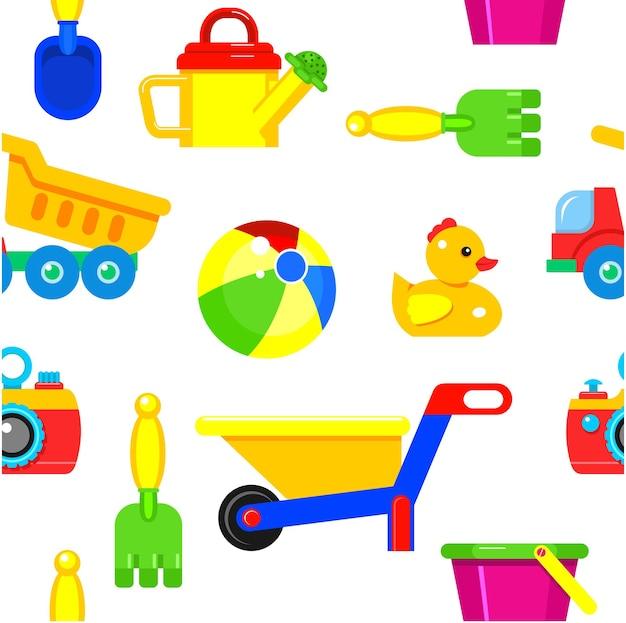 Brinquedos infantis sem costura padrão. brinquedos para jogos na praia na areia