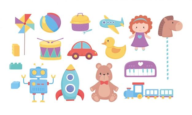 Brinquedos infantis urso boneca cavalo carro trem tambor robô foguete bola avião ícones dos desenhos animados