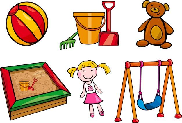 Brinquedos, objetos, desenho animado, ilustração, conjunto