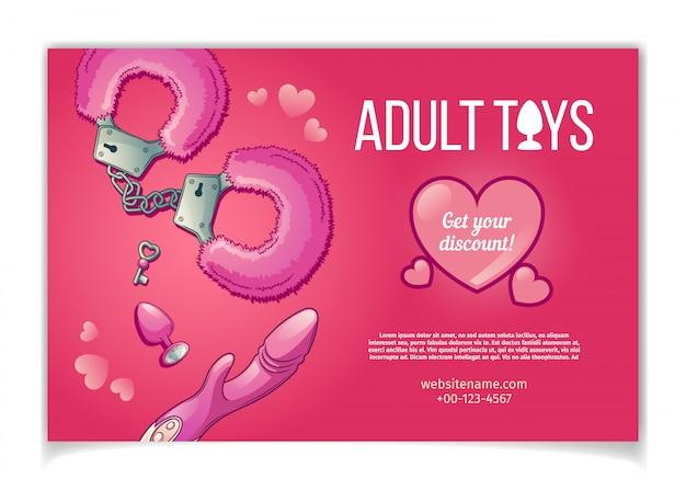 Brinquedos para adultos e acessórios para banner de representação sexual