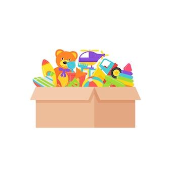 Brinquedos para bebês em caixa. ilustração vetorial no design plano.