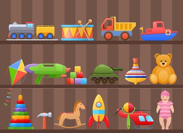 Brinquedos para criança na prateleira do armário