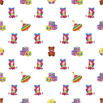 Brinquedos para crianças. boneca de brinquedos de crianças de padrão sem emenda, whirligig e urso no fundo branco, textura infantil para papel de parede de berçário, tecidos e papel de embrulho, ilustração vetorial isolada no branco