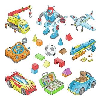 Brinquedos para crianças desenhos animados jogos juvenis na sala de jogos e brincar com carro ou crianças bloqueiam conjunto isométrico de ilustração de ursinho de pelúcia e avião ou robô para meninos em fundo branco Vetor Premium
