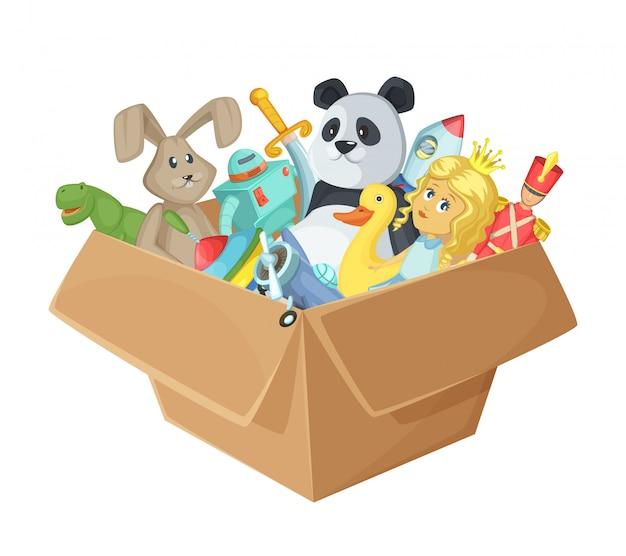 Brinquedos para crianças em caixa de papelão
