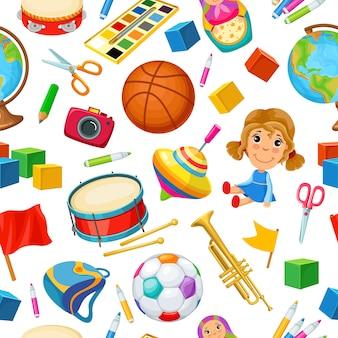 Brinquedos para crianças. padrão sem emenda