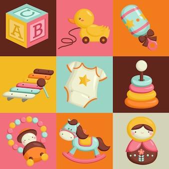 Brinquedos quadrados do bebê