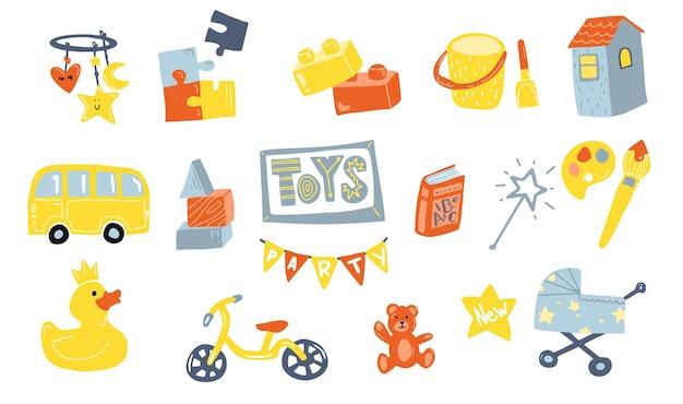 Brinquedos rabiscam ícones em estilo simples tipo de brinquedos para bebês e crianças design plano