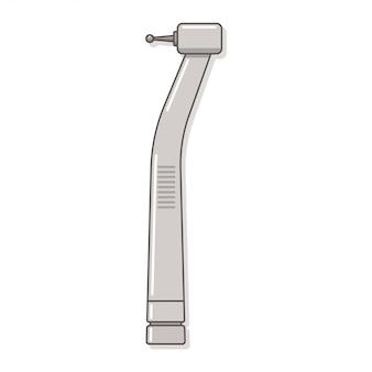 Broca dental com a ilustração do vetor do handpiece isolada no fundo branco.