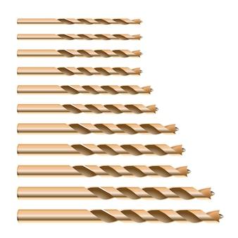 Broca metálica detalhada d realista para bits de madeira definir ferramentas para furo de perfuração de trabalho de construção