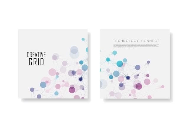 Brochura abstrata com conexão molecular e rede de tecnologia