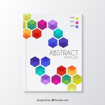 Brochura abstrato com hexágonos coloridos