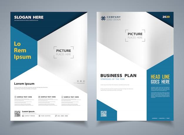 Brochura azul moderna do fundo de desenho de modelo de hexágono