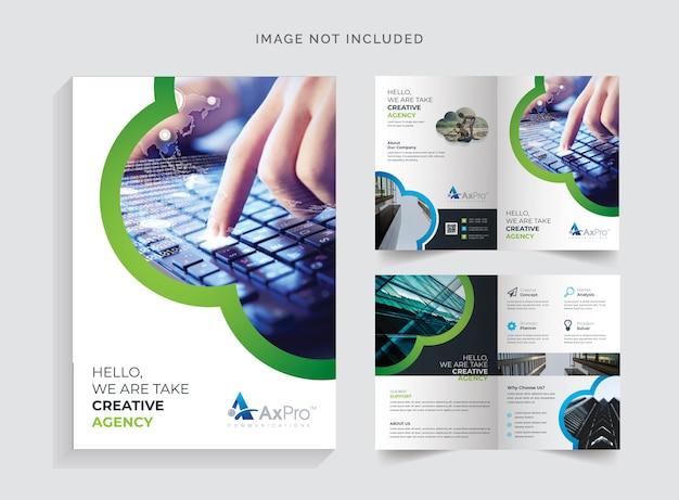 Brochura bifold com acento preto e verde