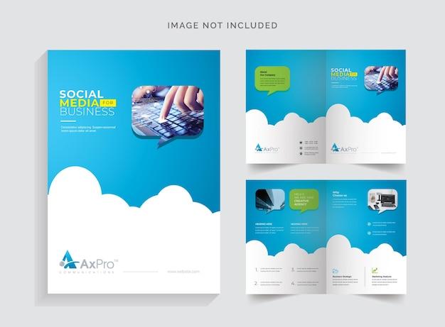 Brochura bifold com sotaque azul