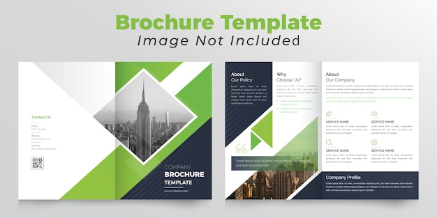 Brochura bifold de cor verde e preto com fundo abstrato