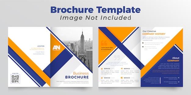 Brochura bifold de negócios laranja e azul escuro