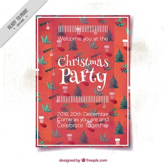 Brochura bonito da festa de natal no estilo do vintage