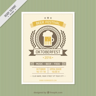 Brochura bonito de oktoberfest no estilo do vintage
