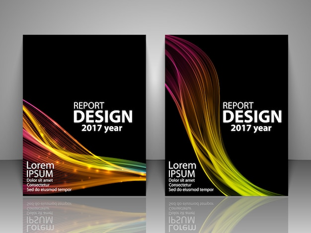 Brochura com onda de luz colorida futurista.