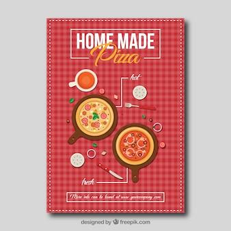 Brochura com pizzas agradáveis com toalha de mesa