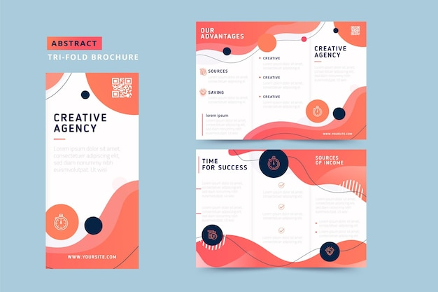 Brochura com três dobras abstrata com design fluido