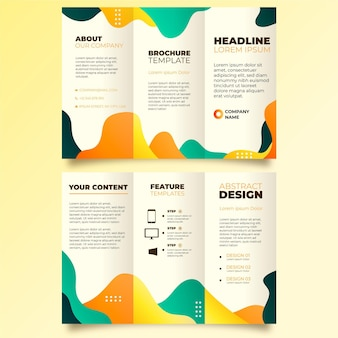 Brochura com três dobras abstrata com frente e verso
