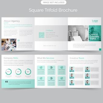 Brochura com três dobras corporativas quadradas de negócios