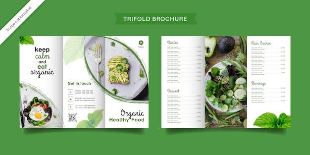 Brochura com três dobras de alimentos orgânicos