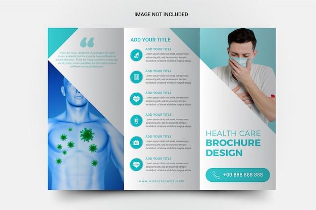 Brochura com três dobras de assistência médica e de saúde
