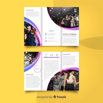 Brochura com três dobras de ginástica