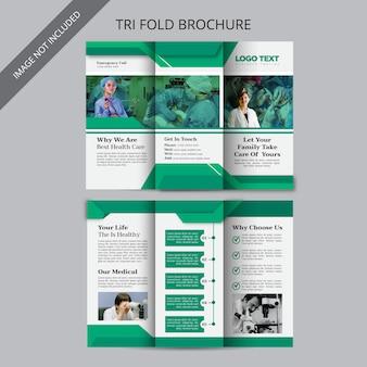 Brochura com três dobras de saúde