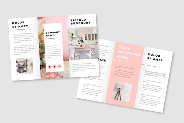 Brochura com três dobras mínima com decoração de casa