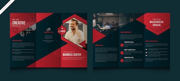 Brochura com três dobras para negócios corporativos