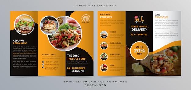 Brochura com três dobras para restaurante