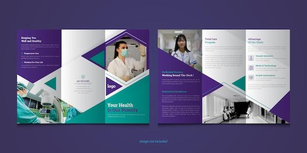 Brochura com três partes sobre cuidados de saúde ou médicos premium
