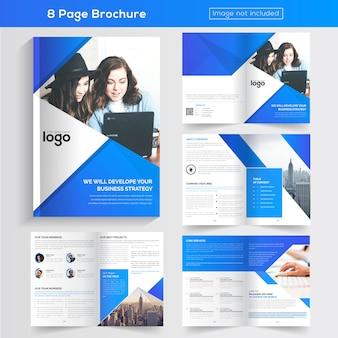 Brochura comercial de cor azul de 8 páginas.