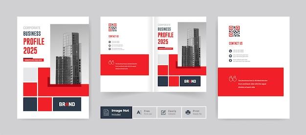 Brochura comercial modelo de capa perfil da empresa relatório anual página de rosto tema da cor vermelha